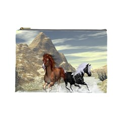 Beautiful Horses Running In A River Cosmetic Bag (large)  by FantasyWorld7