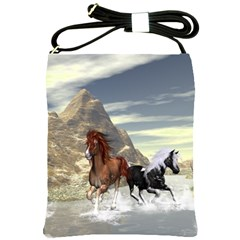 Beautiful Horses Running In A River Shoulder Sling Bags by FantasyWorld7