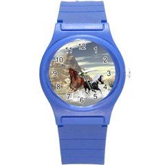 Beautiful Horses Running In A River Round Plastic Sport Watch (s) by FantasyWorld7