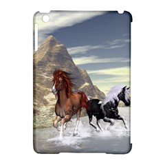 Beautiful Horses Running In A River Apple Ipad Mini Hardshell Case (compatible With Smart Cover) by FantasyWorld7