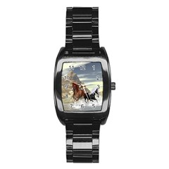 Beautiful Horses Running In A River Stainless Steel Barrel Watch by FantasyWorld7