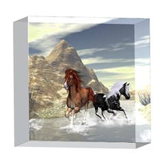 Beautiful Horses Running In A River 5  x 5  Acrylic Photo Blocks by FantasyWorld7
