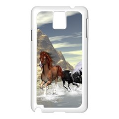 Beautiful Horses Running In A River Samsung Galaxy Note 3 N9005 Case (white) by FantasyWorld7