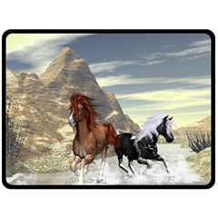 Beautiful Horses Running In A River Double Sided Fleece Blanket (large)  by FantasyWorld7