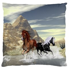 Beautiful Horses Running In A River Standard Flano Cushion Cases (two Sides)  by FantasyWorld7