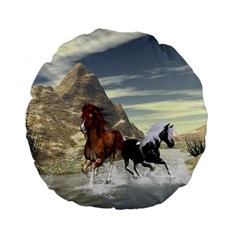 Beautiful Horses Running In A River Standard 15  Premium Flano Round Cushions by FantasyWorld7