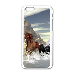 Beautiful Horses Running In A River Apple Iphone 6/6s White Enamel Case by FantasyWorld7