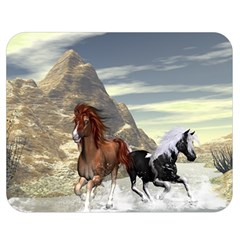 Beautiful Horses Running In A River Double Sided Flano Blanket (medium)  by FantasyWorld7