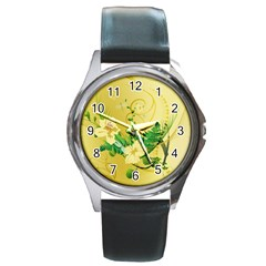 Wonderful Soft Yellow Flowers With Leaves Round Metal Watches by FantasyWorld7