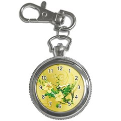 Wonderful Soft Yellow Flowers With Leaves Key Chain Watches by FantasyWorld7