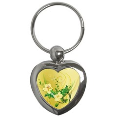 Wonderful Soft Yellow Flowers With Leaves Key Chains (heart)  by FantasyWorld7