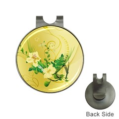 Wonderful Soft Yellow Flowers With Leaves Hat Clips With Golf Markers by FantasyWorld7