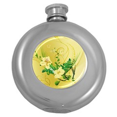 Wonderful Soft Yellow Flowers With Leaves Round Hip Flask (5 Oz) by FantasyWorld7
