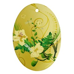 Wonderful Soft Yellow Flowers With Leaves Oval Ornament (two Sides) by FantasyWorld7