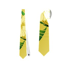 Wonderful Soft Yellow Flowers With Leaves Neckties (two Side)