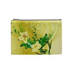 Wonderful Soft Yellow Flowers With Leaves Cosmetic Bag (medium)  by FantasyWorld7