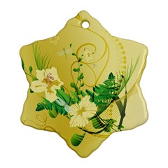 Wonderful Soft Yellow Flowers With Leaves Snowflake Ornament (2 Side)