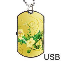 Wonderful Soft Yellow Flowers With Leaves Dog Tag Usb Flash (one Side) by FantasyWorld7
