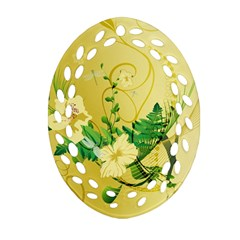 Wonderful Soft Yellow Flowers With Leaves Ornament (oval Filigree)  by FantasyWorld7