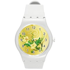Wonderful Soft Yellow Flowers With Leaves Round Plastic Sport Watch (m) by FantasyWorld7
