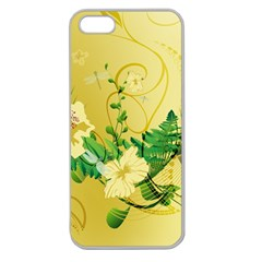 Wonderful Soft Yellow Flowers With Leaves Apple Seamless Iphone 5 Case (clear) by FantasyWorld7