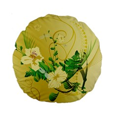 Wonderful Soft Yellow Flowers With Leaves Standard 15  Premium Round Cushions by FantasyWorld7