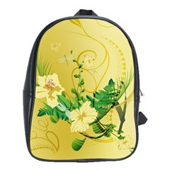 Wonderful Soft Yellow Flowers With Leaves School Bags (xl)  by FantasyWorld7