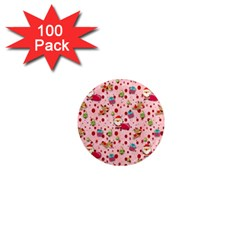 Red Christmas Pattern 1  Mini Magnets (100 Pack)  by KirstenStar