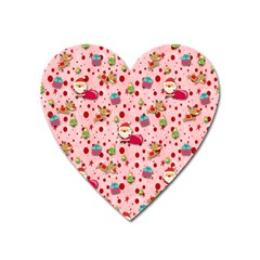 Red Christmas Pattern Heart Magnet
