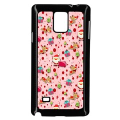 Red Christmas Pattern Samsung Galaxy Note 4 Case (Black) by KirstenStar