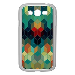 Colorful Modern Geometric Cubes Pattern Samsung Galaxy Grand Duos I9082 Case (white) by Dushan