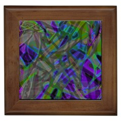 Colorful Abstract Stained Glass G301 Framed Tiles by MedusArt