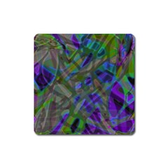 Colorful Abstract Stained Glass G301 Square Magnet by MedusArt