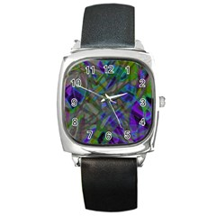 Colorful Abstract Stained Glass G301 Square Metal Watches by MedusArt