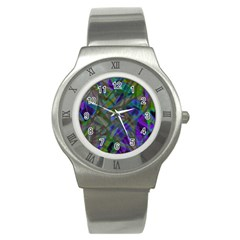 Colorful Abstract Stained Glass G301 Stainless Steel Watches by MedusArt