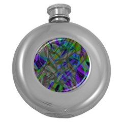 Colorful Abstract Stained Glass G301 Round Hip Flask (5 Oz) by MedusArt