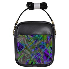 Colorful Abstract Stained Glass G301 Girls Sling Bags by MedusArt