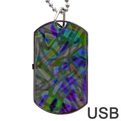 Colorful Abstract Stained Glass G301 Dog Tag Usb Flash (one Side) by MedusArt