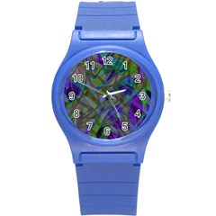 Colorful Abstract Stained Glass G301 Round Plastic Sport Watch (s) by MedusArt