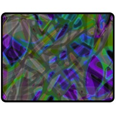 Colorful Abstract Stained Glass G301 Double Sided Fleece Blanket (medium)  by MedusArt