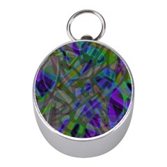 Colorful Abstract Stained Glass G301 Mini Silver Compasses by MedusArt
