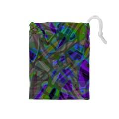 Colorful Abstract Stained Glass G301 Drawstring Pouches (medium)  by MedusArt