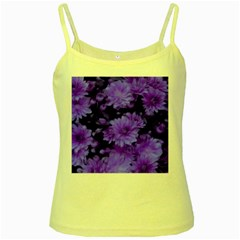 Phenomenal Blossoms Blue Yellow Spaghetti Tanks