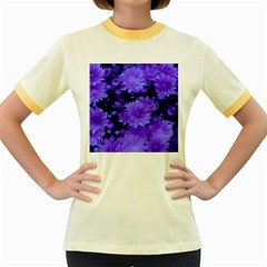 Phenomenal Blossoms Blue Women s Fitted Ringer T Shirts