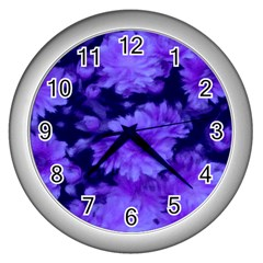 Phenomenal Blossoms Blue Wall Clocks (silver)