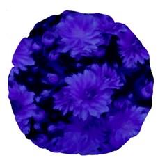 Phenomenal Blossoms Blue Large 18  Premium Round Cushions