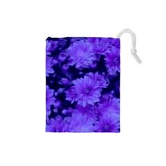 Phenomenal Blossoms Blue Drawstring Pouches (small)