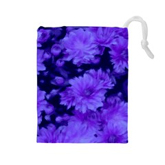 Phenomenal Blossoms Blue Drawstring Pouches (large)
