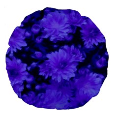 Phenomenal Blossoms Blue Large 18  Premium Flano Round Cushions