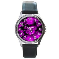 Phenomenal Blossoms Hot  Pink Round Metal Watches